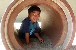Boy in tube